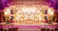 Creative Wedding Decoration Style in Pakistan with Crystal beats, exotic flower arrangements. Plum and white ambiance feeling. #tulipsevent #plumweddings #pakistaniweddingideas #creativeweddings #weddingdecor  Design and Arranged by: www.tulipsevent.com Gold Wedding Centerpieces, Wedding Hall Decorations, Marriage Decoration, Tulip Wedding, Plum Wedding, Pakistani Wedding Decor, Wedding Designs, Wedding Ideas, Wedding Themes