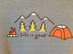 Life is Good t shirt mens SMALL blue long sleeved CAMPING camp fire trees #Lifeisgood #GraphicTee