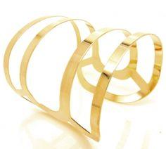 Bracelete Largo Folheado Semi-joia