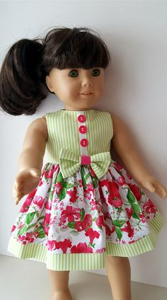 American Girl Berry Floral Print Summer Dress by ILuvmCreations on Etsy Source by dresses idea Sewing Doll Clothes, Girl Doll Clothes, Girl Dolls, Ag Dolls, American Girl Dress, American Doll Clothes, Dresses Kids Girl, Kids Outfits, Girls