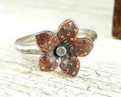 Sterling Silver Ring with Copper Polka Dot Flower, Rustic Copper Ring