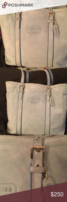 Coach baby blue tote Suede baby blue Coach tote. Gently used. Some marks as shown.silver hardware and brown interior. Coach Bags Totes