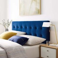 Add a beautiful look to your bedroom decor with the selection of this MODWAY Emily Navy Full Biscuit Tufted Performance Velvet Headboard. Full Bed Headboard, Headboards For Queen Beds, Navy Headboard, Velvet Headboard, Queen Headboard, Panel Headboard, Headboard Cover, Full Bed Frame, King Bed Frame