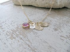 Personalized 14k Gold Filled Three Heart Initial Birthstone Necklace, Rose Swarovski October Birthstone, Mother's Gift, Family Necklace by LetItBeLove on Etsy