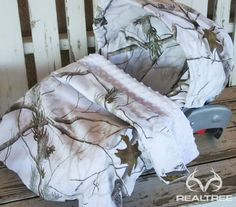 """Realtree Snow Camo Car Seat Cover and Hood/ Canopy Cover w/ matching 30""""x30"""" blanket with any minky color.  #Realtreecamo"""