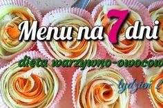 Menu tygodniowe – dieta warzywno-owocowa – tydzień 2 Food And Drink, Menu, Lunch, Fitness, Desserts, Foods, Per Diem, Recipes, Menu Board Design