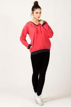 Koralowa bluza damska z kapturem Athletic, Jackets, Fashion, Down Jackets, Moda, Athlete, Fashion Styles, Deporte, Fashion Illustrations