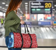 Blue Tie Dye, Paisley Design, Waterproof Fabric, Travel Bags, Shoulder Strap, Small Bags, Luxury, Red, Vibrant