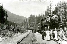 Washington State Historical Society -  image of a train at Keechelus Depot, near Keechelus Lake, Kittitas County, WA.