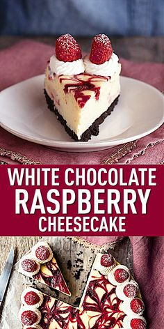 This white chocolate raspberry cheesecake will make you swoon! Sweet, creamy white chocolate cheesecake, swirled with ruby-red raspberry sauce. Cheesecake Caramel, Raspberry Swirl Cheesecake, Homemade Cheesecake, Cheesecake Cupcakes, White Chocolate Rasberry Cheesecake, Raspberry Dessert Recipes, Simple Cheesecake Recipe, Oreo Crust Cheesecake, Raspberry Torte