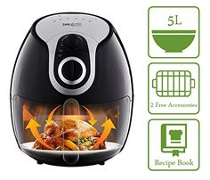 5L XL Manual Air Fryer  Includes Accessory Set  Recipe Book Healthier Cooking and Nicer Tasting Food with No Oil * You can find more details by visiting the image link-affiliate link.