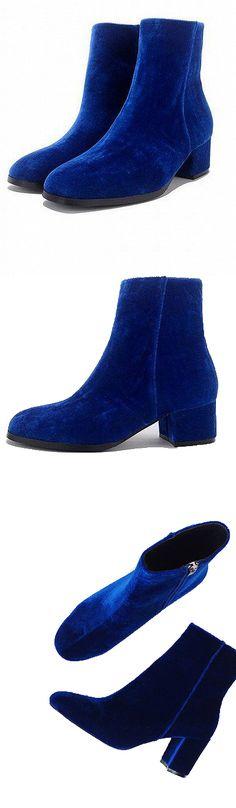 CHICLOOKCLOSET | Blue Velvet Zip Side Heeled Ankle Boots
