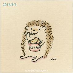 Hedgehog Eating Ice Cream