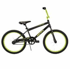 """20"""" Boys Bike Steel Huffy Rock It Starter Kids Bicycle, Black:The Lime Green Rock It bike shines as he rides down the sidewalk. Fully decorated with a fun pattern and racing-style graphics on the side, Rock It includes a decorated handlebar pad plus comfortable grips and padded seat.   Kids grow quickly, so Huffy made it easy to adjust the comfortable seat to the right height! Simply open the quick adjust lever, adjust the height, and securely close the lever back in place."""