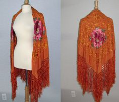 Vintage 1920s Orange Silk Embroidered Piano Shawl by EvelynandDot, $200.00