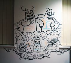 Geo Law is an illustrator in Sheffield, specialising in doodling office mural art works and graphic prints Easy Graffiti, Graffiti Murals, Street Graffiti, Mural Art, Street Art, Wall Art, Wall Paint Patterns, Painting Patterns, Office Mural