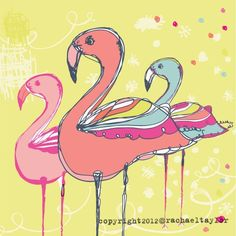 Flamingo Fun by Rachael Taylor  http://www.rachaeltaylordesigns.co.uk/shop/paper/greetings-cards/illustration-collection/flamingo-fun#.UToOnqVWI2w