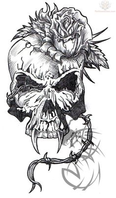 skull-with-rose-tattoo