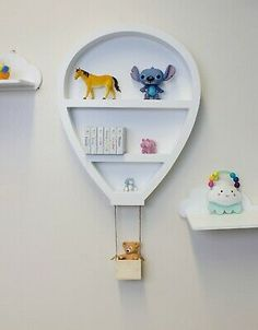 Prepare to float on up with this novelty hot air balloon wall shelf. White Hot Air Balloon Hanging Wall Shelf. Number of Shelves: 3. This unique Wall Shelf is destined to take you places high and far. Unique Wall Shelves, Wall Mounted Shelves, Hanging Shelves, Decorative Wall Shelves, Kids Wall Shelves, Kids Shelf, Decorative Items, Nursery Shelves, Nursery Storage