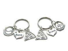 2 Aunt Niece Pizza Initial Keychains Aunt by CharminTreasureChest