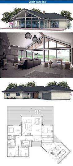 Maison plain pied contemporaine avec grandes baies vitrées BBC - plan agrandissement maison gratuit