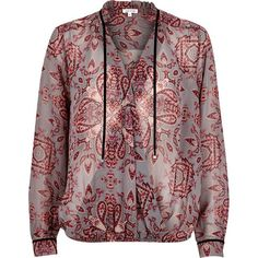 River Island Red print wrap front blouse ($70) ❤ liked on Polyvore