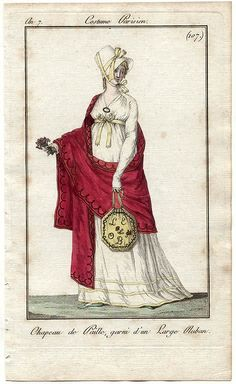 1790's fashion plate. From Journal des Dames et des Modes, 1799. Love the bonnet and the reticule. And the shawl. Oh, and that bodice. Oh, and the ribbon belt. Okay, I love it all.