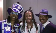 BASS-N-YA-FACE: Now, here's 3 of the baddest bass players on the planet! Bootsy Collins, Verdine White, and Larry Graham. Bootsy had his own band, Bootsy's Rubber Band. He also played for James Brown (J.B.'s), and he still plays for George Clinton (Parliament-Funkadelic). Verdine is a lifelong member of Earth, Wind & Fire. Larry had his own band, Graham Central Station, and performs solo. He also played for Sly & The Family Stone. All of them do session work for other artists too!