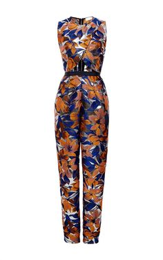 Floral Print Overlap Jumpsuit by Kaelen for Preorder on Moda Operandi