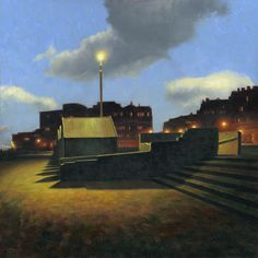 """Empire Of Night"". A play on the title of Magritte's painting ""Empire of Light"", daytime sky, nighttime promenade. Oil on board."