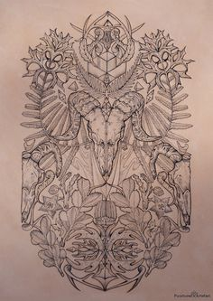 Tattooed Leather Art 'Bare Bones' Ram, botanicals by PUNCTURED-ARTEFACT