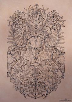 Tattooed Leather Art 'Bare Bones' Ram, botanicals by PUNCTURED-ARTEFACT