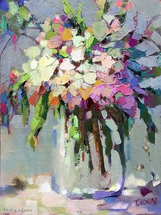 Wild Bouquet von Trisha Adams Oil ~ 16 x 12 - Blumenbilder - Kunst Acrylic Painting Flowers, Abstract Flowers, Artist Painting, Painting & Drawing, Knife Painting, Oil Painting Abstract, Arte Floral, Art Oil, Art Blog