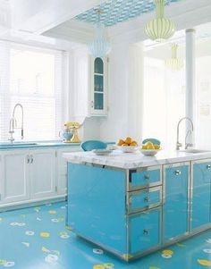 Turquoise Kitchen Island + Floor