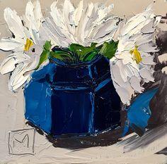 Miniature daisies  Oil impasto on board  By Juanette Menderoi