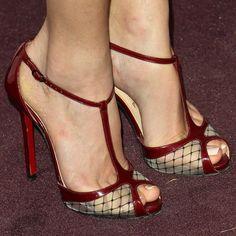 "Actress Jill Wagner wearing Christian Louboutin's ""Lagoula"" sandals"