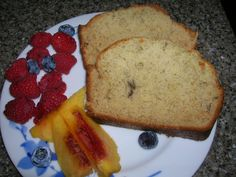 Tom's Favorite Banana Bread - Mix together: 1/3 cup butter or margarine; 2/3 cup sugar; Blend in: 2 eggs; Mix together: 1 ¾ cup flour; 2 teaspoons baking powder; ¼ teaspoon baking soda; ½ teaspoon salt; Add alternately to flour mixture with: 1 cup mashed ripe bananas (2-3 small);  Pour into greased loaf pan – Bake 350 degrees for 1 hour.