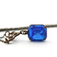 Sapphire Crystal Swarovski Necklace September Birthstone Antique Brass Jewelry Blue Pendant Handmade Jewelry Vintage Style