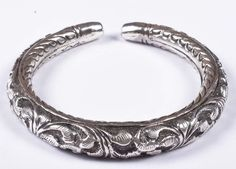 925 Solid Sterling Silver Bangle Nice Rajasthan Traditional Desing 48 mm JSBG-35 #Handmade #Bangle
