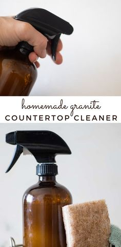 Homemade granite cleaner recipe without vinegar. Made with all-natural ingredients to keep your granite countertops clean, shiny, and toxic free. #diycleaners Natural Cleaning Recipes, Homemade Cleaning Products, Natural Cleaning Products, Cleaning Diy, Granite Countertop Cleaner, Homemade Granite Cleaner, Diy Cleaners, Cleaners Homemade, Simple Clean Meals