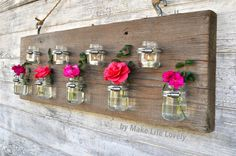 Baby food jar vases and candleholders. Jar crafts for garden and home. DIY food jars for mother's day gift idea. Baby Food Jar Crafts, Mason Jar Crafts, Diy Crafts For Kids, Baby Jars, Baby Food Jars, Food Baby, Recycled Crafts, Wood Crafts, Decoracion Low Cost
