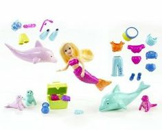 Polly Pocket Polly Sea Chic Boutique by Mattel. $23.50. Polly is dressed in a shimmering mermaid tail, or mix and match beach fashions. Great for travel, bath and pool time. Undersea world of adventure awaits girls. Lots of sea friends, swim and snorkeling accessories, sea shells, and a treasure chest. Includes a zipped vinyl carry bag. From the Manufacturer                An undersea world of adventure awaits girls with Polly dressed in a shimmering mermaid tai...