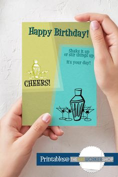 Printable Birthday Card Martini Birthday Card Cheers On It's Your Birthday, Birthday Cards, Opening An Etsy Shop, Beautiful Notebooks, Pretty Images, Novelty Items, How To Make Paper, Letter Size, Folded Cards