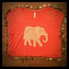 Xhilaration Tops - Lace elephant crop top
