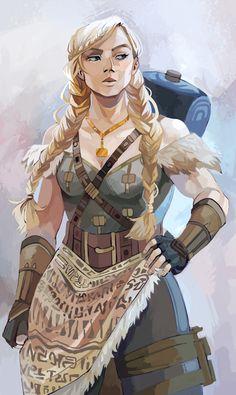 Gunilla from magnus chase gods of Asgard art by viria Fantasy Character Design, Character Creation, Character Design Inspiration, Character Concept, Character Art, Concept Art, Character Ideas, Viking Character, Character Types