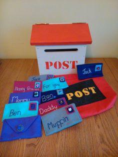 Post box letterbox, wooden, felt letters, stamps. Postman set.