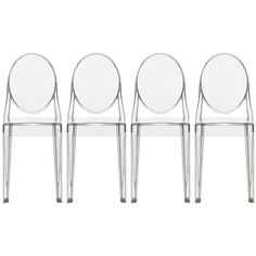 2xhome Victoria Style Ghost Side Chairs, Armless, Poly-carbonate... ($200) ❤ liked on Polyvore featuring home, furniture, chairs, armless chair, poly furniture, armless side chair, armless ghost chair and plastic chairs