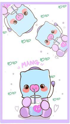 Mang 💙 Bts Wallpaper, Iphone Wallpaper, Fanart Bts, Kpop Drawings, Bts Backgrounds, Line Friends, Bts Chibi, Bts Fans, Bts Lockscreen