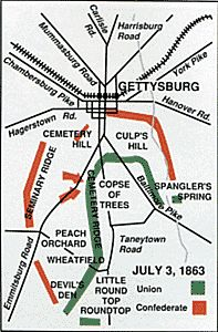 This map of the Gettysburg Battlefield on July 3 1863 also shows