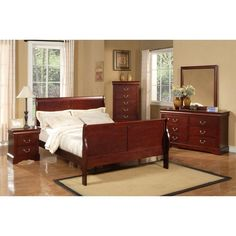 Jensen Sleigh Bed #BedroomInteriorDesign